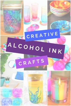 These are just a few creative ways to use alcohol inks in your projects! Alcohol Ink Jewelry, Alcohol Ink Glass, Alcohol Ink Crafts, Alcohol Ink Painting, Alcohol Inks, Diy Crafts To Sell, Diy Crafts For Kids, Handmade Crafts, Quick Crafts
