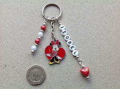Handmade Personalised Any Name Minnie Mouse Heart keyring bag charm, gift bag. £3.49 free delivery.