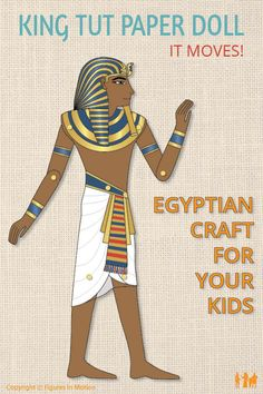 How to make an articulated paper doll of King Tut. Hands-on project from Ancient Egypt for Kids. Egyptian crafts of historical paper dolls that move. Ancient Egypt Activities, Ancient Egypt For Kids, History Activities, Teaching History, Hands On Activities, Teaching Kids, Egyptian Crafts, Renaissance Time, Paper Doll Template