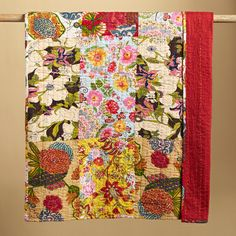 """GLOBAL GARDENS LIGHTWEIGHT QUILT--Like cuttings from dozens of gardens, our bright blooming, handprinted cotton patchwork is hand quilted in a colorful kantha stitch by village women near Jaipur, India. Lightweight, with no fill, solid red back. Machine wash. Exclusive. Queen, 96""""W x 96""""L"""