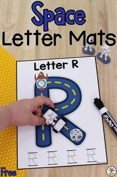 TheseSpace Letter Writing Matsare a hands-on way for kids to work on writing capital letters, fine motor skills, and much more!