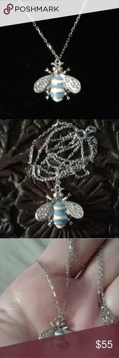 """Handcrafted White Topaz 925S Bumble Bee 18"""" Nk New...Handcrafted, White Topaz, Blue & Yellow Enamel, Solid 925 Sterling Silver, Bumble Bee Pendant 18"""" Necklace, 3/4""""W by 3/4"""" Tall (slightly less)...Comes With a Packaged, Anti- Tarnish, Polishing Cloth. Fine Handcrafted in Turkey Jewelry Necklaces"""
