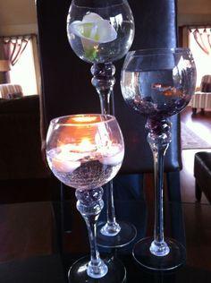 Glass Centerpieces :  wedding centerpiece glass goblets reception Centerpiece