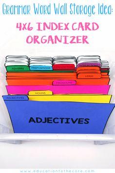 Grammar Word Wall Organizer Idea