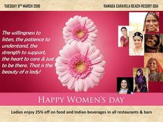 Ramada Caravela Beach Resort Goa is celebrating the spirit of womanhood. All ladies, do come for a relaxed meal and enjoy 25% off on all our restaurants & bars today. #HappyWomensDay