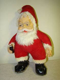 "Vintage Christmas Collectible ~ Rushton 16"" Coca-Cola Santa Claus with Rubber Hands & Coke Bottle. Circa, 1950's."