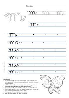 Caligrafia letra m mariposa Más
