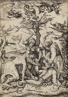 """Gib Frid: """"Let me go."""" (c. 1510/20 - Etching) ~ Daniel Hopfer"""