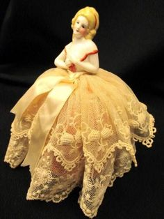 Vintage Porcelain Half Doll Hat Pin Cushion - Blonde Southern Bell