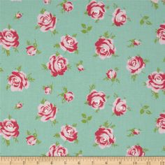 Tanya Whelan Rosey Little Roses Teal from @fabricdotcom  Designed by Tanya Whelan for Free Spirit, this cotton print fabric is perfect for quilting, apparel and home decor accents. Colors include shades of pink, green and light teal.