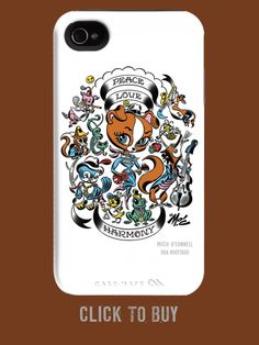iPhone 4 Tough Case. Art: Peace Love Harmony is from the Hot, Handsome, and Hunkalicious artist Mitch O'Connell, whose uniquely famous design genre is retro tattoo and ink.  Introductory price of $39.99 with FREE SHIPPING!! Retro Tattoos, Chicago Artists, Iphone 4, Peace And Love, New Art, Art Pieces, Handsome, Collections, Ink
