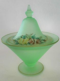 Green satin glass candy dish reverse painted