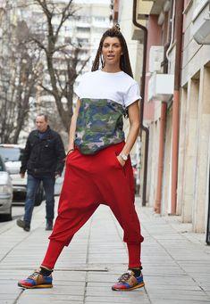 Red Pants, Loose Pants, Cotton Pants, Trousers, Casual Drop Crotch Pants, Harem Pants, Extravagant Low Bottom Pants by SSDfashion