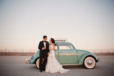 I have such a soft spot for wedding pics with VW bugs.