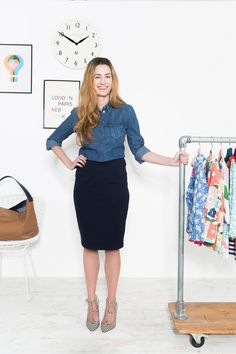 """""""This outfit is perfect for days when I have lots of internal meetings. Pairing a relaxed denim shirt with a sharp pencil skirt makes for a smart, office-appropriate combination. The shoes add a colourful finishing touch and would also look great with a pair of jeans."""" > http://blog.boden.co.uk/9-to-5-style-the-boden-edit/"""
