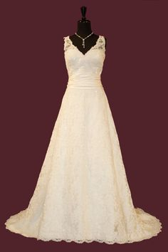 V-neck lace gown for bride