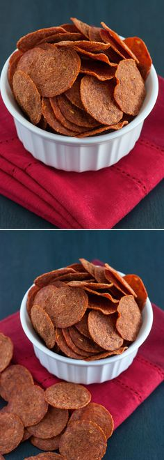 Pepperoni Chips - A quick, low carb, gluten-free snack that's incredibly crunchy, crispy and addicting!