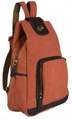 Y-G 16 oz Canvas Backpack Vintage Design w/Leather Trim, 3301 Terracotta