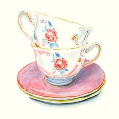 Still Life Kitchen Decor Art Print of Original Watercolor Painting -- Teacups 4