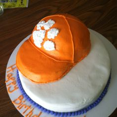 Clemson hat. All cake covered in buttercream.