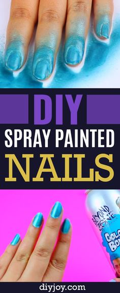 DIY Spray Painted Nails - Cool DIY Project and Beauty Hack That Shows You How To Get A Spray Paint Manicure At Home - Easy Beauty Tips and Tricks for Cool Fashion Idea - DIY Projects and Crafts by DIY JOY http://diyjoy.com/diy-spray-painted-nails