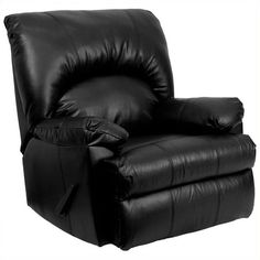 Flash Furniture Contemporary Apache Black Leather Rocker Recliner (510 CAD) ❤ liked on Polyvore featuring home, furniture, chairs, recliners, black, black leather recliner, leather rocking chair, contemporary recliners, contemporary rocking chair and leather chair