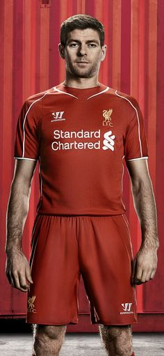 Captain Steven Gerrard models the new #LFC home kit for the 2014/15 season