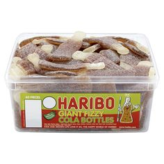 Haribo Childrens sweets Giant fizzy cola bottles Tub of 60 Pieces Fizzy and sour  with that distinctive cola flavour  with 60 large bottles in each tub  and all for only  £4.25--bargain