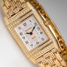 Jaeger LeCoultre Reverso Ladies Watch 18K Gold & Diamonds Model 266.1.44