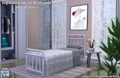 Separated metal bedframe and matress by OM at Sims 4 Studio • Sims 4 Updates