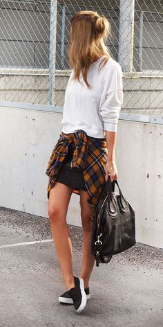 Sweater, mini skirt, tied flannel around the waist sneakers & givenchy