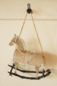 Freudentanz: Wintercottage. Toilet paper roll rocking horse Christmas ornament / decoration.
