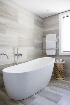 heated towel rails on wall behind freestanding bath