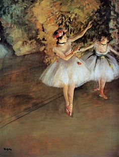Four ballerinas on the stage impresión por Edgar Degas alta pared arte imagen, papel, 88 x 70 cm