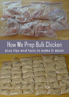How we prep bulk chicken for storing, plus tips and tools to make it easier! We did this with Zaycon Chicken Breasts.