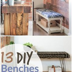DIY Benches- Homemade Benches are the perfect way to provide seating and charm to any space. Here are 13 Easy DIY bench tutorials, so you can make your own. Homemade Bench, How To Make Homemade, Homemade Gifts, Homemade Furniture, Frugal Christmas, Sewing Patterns Free, Free Sewing, Sewing Doll Clothes, Diy Bench