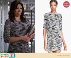 Angela's grey space dye sweater dress on Bones.  Outfit Details: http://wornontv.net/32843/ #Bones
