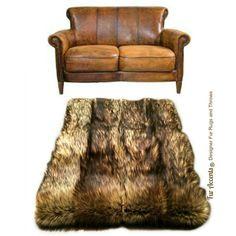 Pieced Fur Area Rug Golden Brown Wolf Pelt Rug Premium Faux Fur Rectangle  Designer Shag By