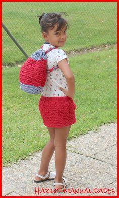 Conjunto falda y mochila en trapillo y recycle