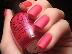 Hot Pink Matte Manicure ~ LA Pazitively Hot, OPI Matte Top Coat Nail Polish Set