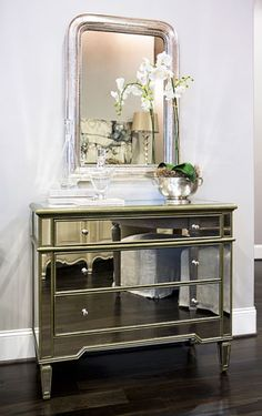 Mirrored chest, NDI orchid in Match Pewter bowl, Antique Louis Philippe Mirror Linda McDougald Design | Postcard from Paris Home