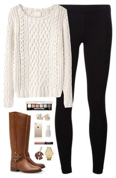"""chunky knit"" by classically-preppy ❤ liked on Polyvore featuring Tory Burch, James Perse, Band of Outsiders, Essie, NARS Cosmetics, Michael Kors, Bobbi Brown Cosmetics and Kate Spade"