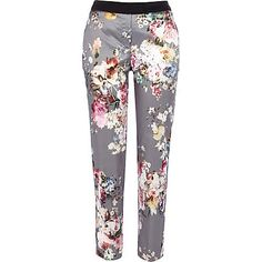 Grey floral print satin trousers 55,00 €