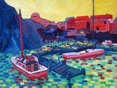 Buy City of Heroes Landscape, 32 x 24 on Wood, Original by James Barnett - Signed at online store City Of Heroes, Matisse Paintings, Fauvism, Post Impressionism, Pointillism, Modern Artists, Color Effect, Landscape Illustration, Henri Matisse