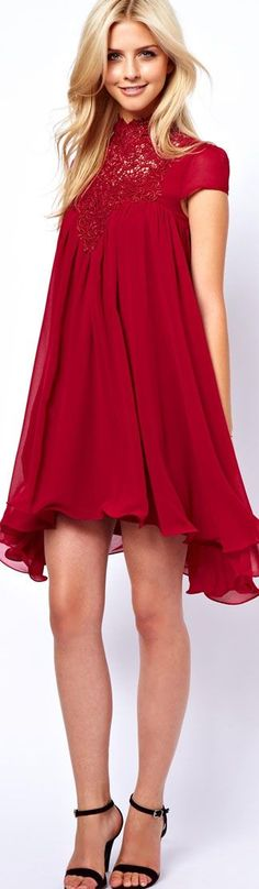 @roressclothes closet ideas women fashion outfit clothing style Lydia Bright Swing Dress With Lace Neck #red #dress <3:
