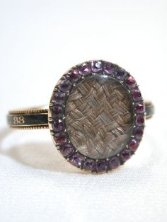 1775 mourning ring design inside is made of hair from loved one