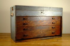 Primitive Wooden Tool Box Or Machinist Chest With Four Drawers And Top…