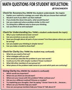 Math classroom - 24 Questions to Enhance Students Reflective and Critical Thinking Skills – Math classroom Math Teacher, Math Classroom, Teaching Math, Classroom Ideas, Teacher Quotes, Math Strategies, Math Resources, Math Talk, Math Questions