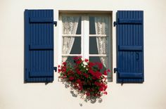 Colonial Shutters - open the window and pull the shutter closed - blocks out sunlight, the cold, and good for locations where there are hurricanes. Window Shutters Exterior, House Shutters, Diy Shutters, House Windows, Tan House, Potted Geraniums, Shutter Designs, Board And Batten Shutters, Window Boxes