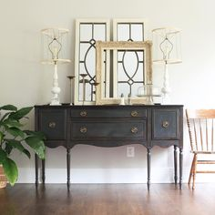 I painted this vintage buffet with Annie Sloan graphite chalk paint and clear and dark wax. - Green Spruce Designs